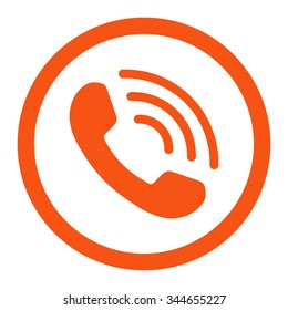 Phone Call vector icon. Style is flat rounded symbol, orange color, rounded angles, white background.