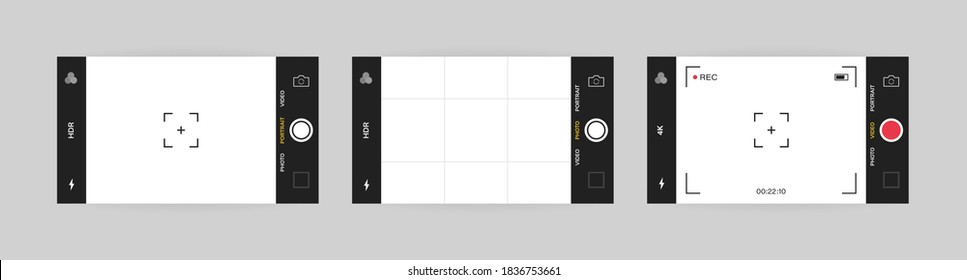 Phone camera interface horizontal view. Mobile app application. Photo and video shooting. Vector illustration graphic design.