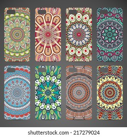 Phone case collection, delicate floral pattern. Vector background. Vintage decorative elements. Hand drawn background. Islam, arabic, indian, ottoman motifs.