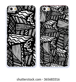 Phone case collection. Mobile phone cover back and screen, pattern. Vector illustration, Example of design cover. Editable element under clipping mask.