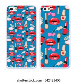 Phone case collection.Closeup beautiful lips of woman with red lipstick and gloss, brush, powder, lipstick, nail polish. Sexy wet lip make-up. Open mouth. Sweet kiss. Retro mobile phone decals.