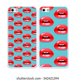 Phone case collection.Cosmetics and makeup pattern. Closeup beautiful lips of woman with red lipstick and gloss. Sexy wet lip make-up. Open mouth. Sweet kiss.Retro mobile phone decals.