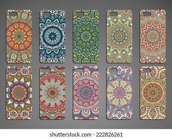 Phone case, delicate floral pattern. Vector background. Vintage decorative elements. Hand drawn background.