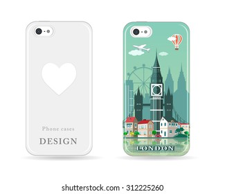 Phone case design with colored print. Modern London city skyline pattern with flat style cases. Isolated vector illustration.