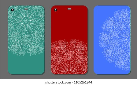 phone case design. Fashionable floral ornaments for mobile phone cover, floral mandala. mobile phone case.Vintage decorative elements.
