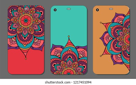 Phone case mandala design set. Vintage decorative elements. Hand drawn background. Islam, Arabic, Indian, ottoman motifs