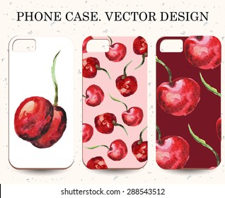 Phone case. Vintage vector watercolor background with sweet cherry.