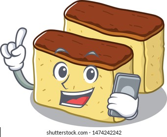 With phone castella cake isolated in the cartoon
