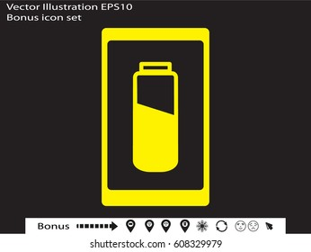 phone, charging, battery icon, vector illustration eps10