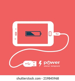 phone charging, flat icon isolated on a red. Concept background design