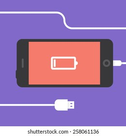 Phone charging, flat icon isolated on a purple. Concept background design