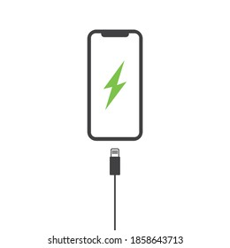Phone charging icon. Vector illustration isolated on white background.