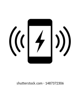 Phone charging vector icon on white background