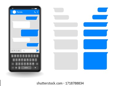 Phone chatting sms template bubbles. Place your own text editable to the message clouds. dialogues using samples bubbles Phone chatting sms.