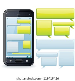 Phone Chatting Template. Place Your Own Text to the Message Boxes.