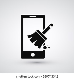 Phone and Cleaner icon. Clear phone RAM cache and get boosted. Cleaner broom,  broomstick. Vector icon graphic element illustration. Compatible with ai, cdr, jpg, png, svg, pdf, ico and eps.