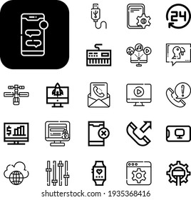 phone Collection Vector Icons Set. phone line icons also app, smartwatch, settings, keyboard, mail, no phone, outgoing call, usb, call center agent, video, computer, pc