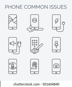Phone common issues line icons. Broken mobile phone, tablet. Cracked screen. Repair electronic equipment. Electronic technology. Repair cellphone. Touch screen.