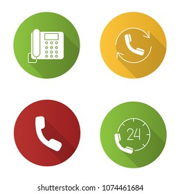 Phone communication flat design long shadow glyph icons set. Landline telephone, hotline, handset, calling. Vector silhouette illustration