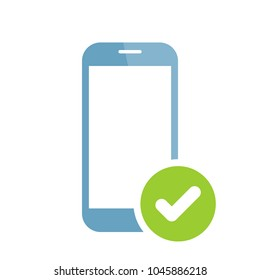 Phone confirmation icon. Mobile phone icon with check sign. Mobile phone icon and approved, confirm, done, tick, completed symbol. Vector icon