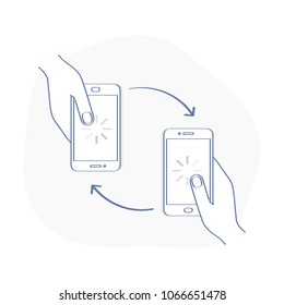 Phone connection. Two mobile smartphones in human hands with rotation arrow, Incoming calls, data change, communication, sharing, data exchange. Send and receive information, files.