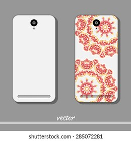 Phone cover with red round ornaments. Vector illustration