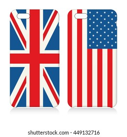 Phone covers with flags of USA and UK