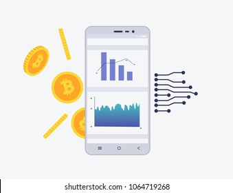 Phone with crypto currency on the screen. Bitcoin trading concept with coins and schemes. Diagram and statistic for mobile app in flat style