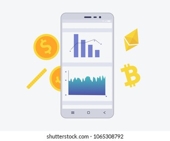 Phone with crypto currency on the screen. Bitcoin and etherium trading concept with coins and schemes. Diagram and statistic for mobile app in flat style