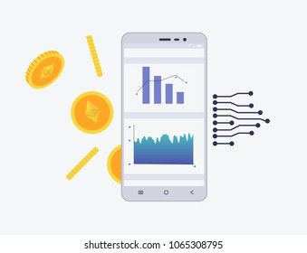 Phone with crypto currency on the screen. Etherium trading concept with coins and schemes. Diagram and statistic for mobile app in flat style