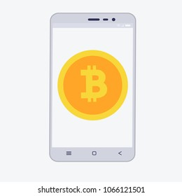 Phone with cryptocurrency on the screen. Bitcoin trading concept with coins in flat style
