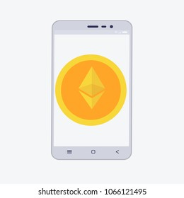 Phone with cryptocurrency on the screen. etherium trading concept with coins in flat style