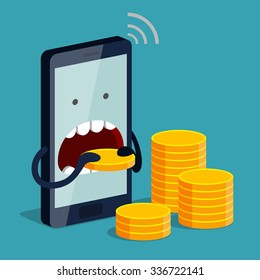 Phone is eating gold coin, three stacks of coins near. Expensive payment of communications service, expensive rate concept