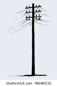 Phone electronic mains post stand in winter field near road. Freehand dark ink hand drawn icon picture sketchy in art doodle style pen on paper. Side view with space for text on foggy sky