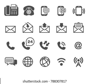phone and email Icons Vector, Contact us .