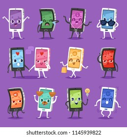 Phone emoji vector gadget character smartphone or tablet with face expression illustration emotional set of digital device cellphone or mobilephone emotion with eyes and smile isolated on background