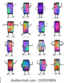 Phone emojji vector smartphone emoticon character and mobilephone or cellphone expression gadgets illustration set of digital mobile device emotion isolated on white background