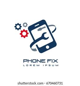 phone fix repair icon logo template vector
