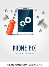 phone  fix (phone, screwdriver and nuts)