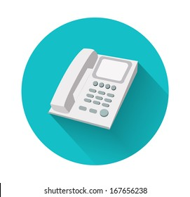 Phone in flat design with long shadow. Landline phone