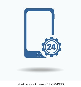 Phone with gear silhouette. 24 hours online .Logo design. Support settings concept. Options. Mechanical shop. Single flat icon isolated on white background. vector illustration.