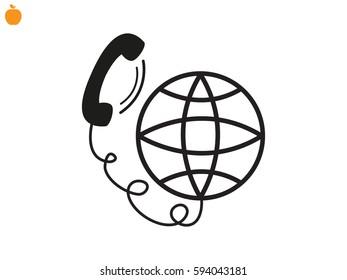 phone, globe, icon, vector illustration eps10