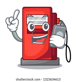 With phone gosoline pump in the character form