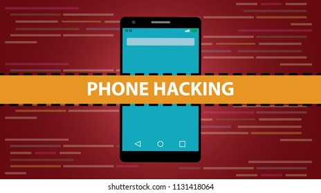 phone hacking concept with smartphone and programming hack script code as background vector illustration