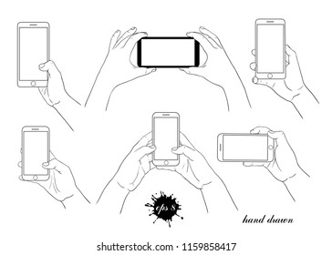 A phone in the hand. Collection of various linear images.