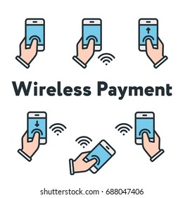Phone In Hand Finger Tap Wireless Payment Minimal Color Flat Line Outline Stroke Icon Set