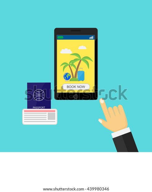 Phone Hand Passport Ticket Light Background Stock Vector