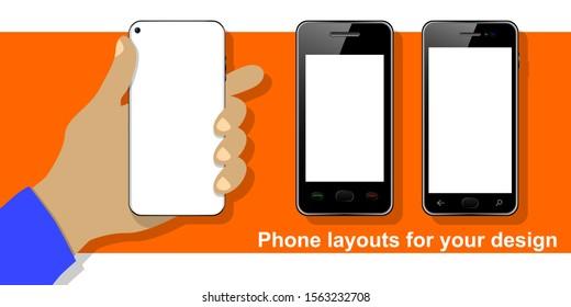 Phone in hand, set of smartphones for your design on orange background, vector illustration