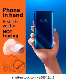 Phone in hand. Smartphone screen. Realistic vector illustration. mock up