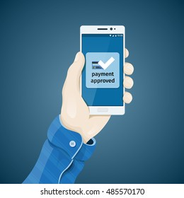 Phone in hand vector illustration in flat style. Online commerce. Proof of purchase. Electronic payment.